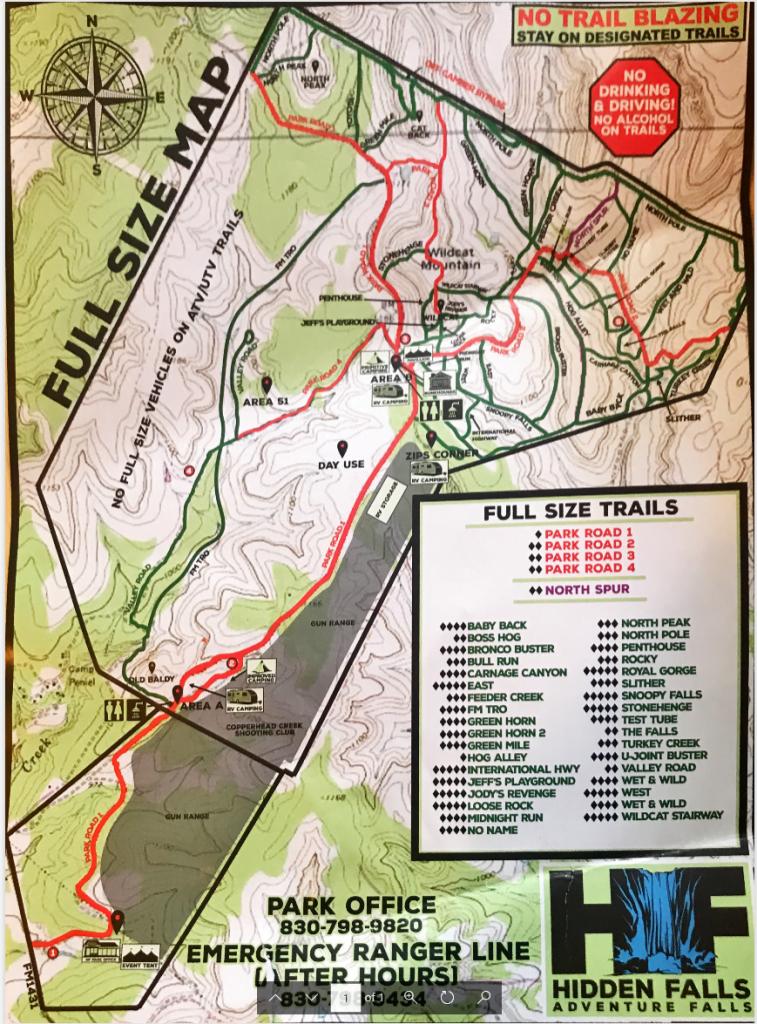 Hidden Falls adventure park map