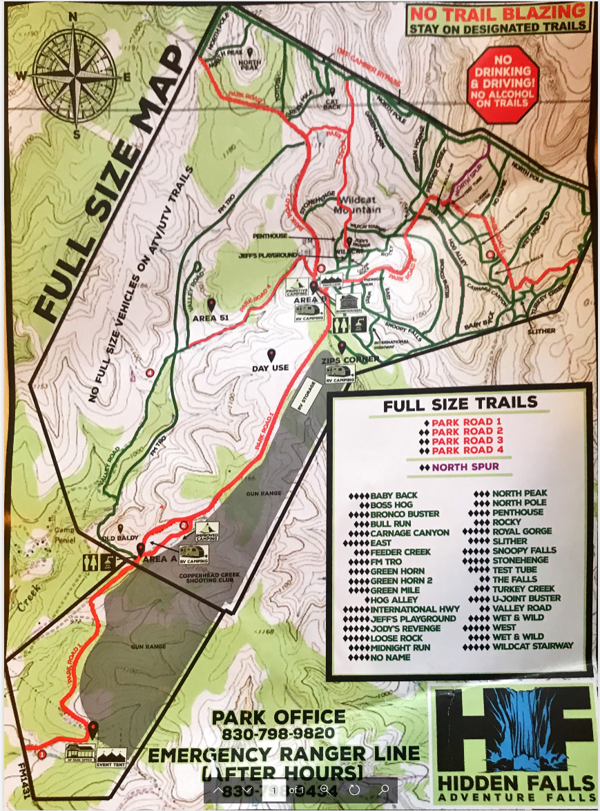 Hidden Falls adventure park map