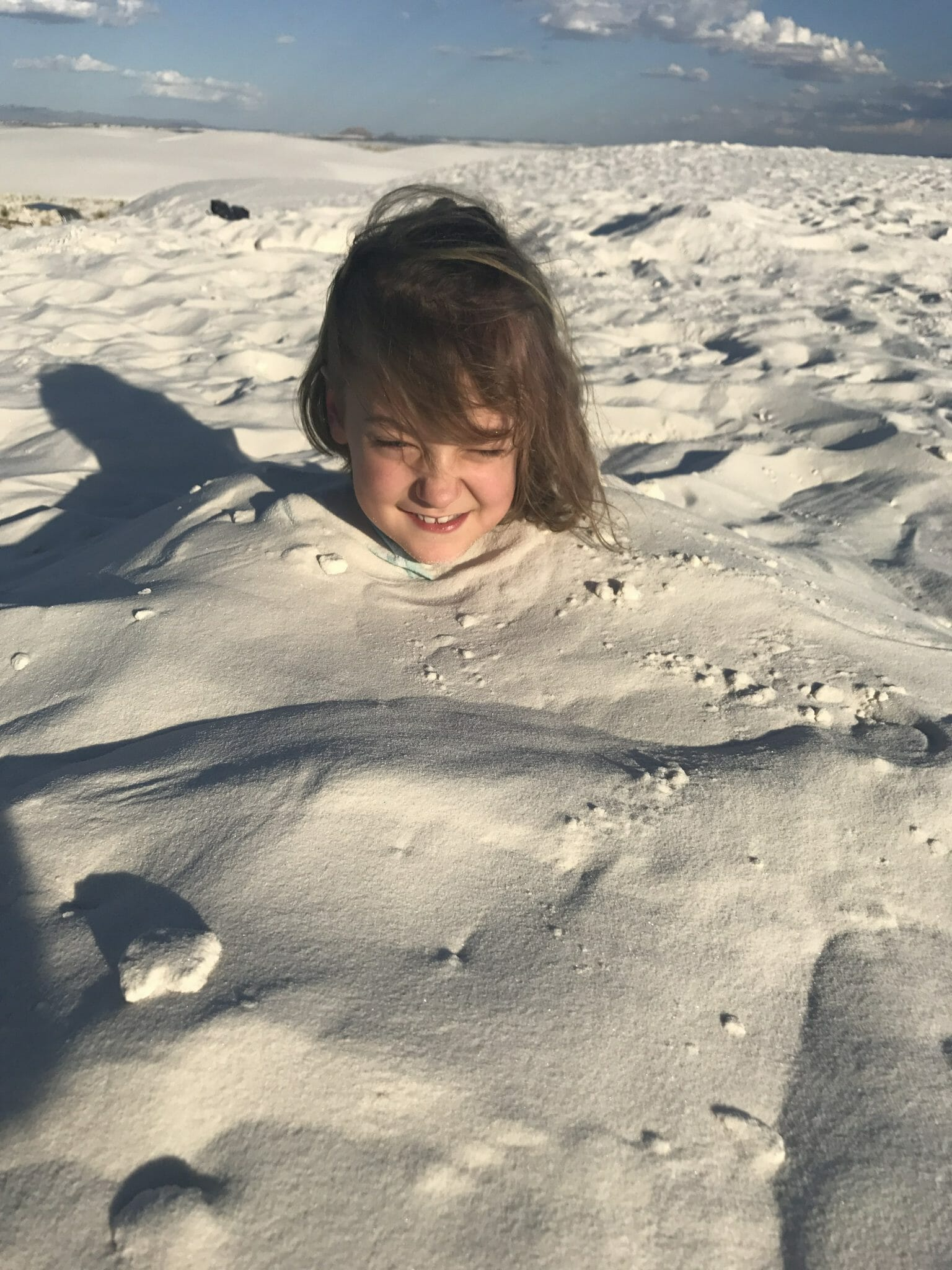 White Sands National Monument burying our kids in the sand