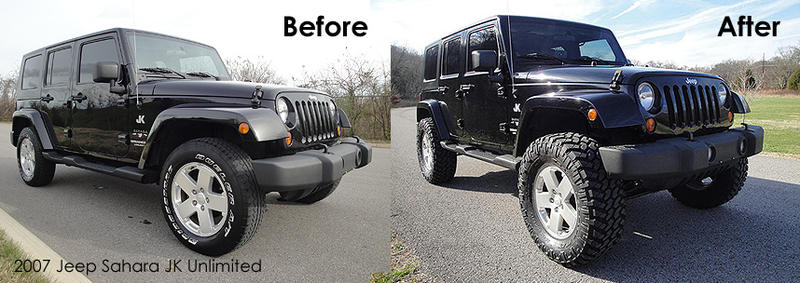 Before and After spacers factory tires jeep wrangler