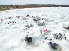 Drone Minnesota Art Shanty Projects | Rockchuck Summit