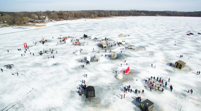 Drone Minnesota Art Shanty Projects | Rockchuck Summit