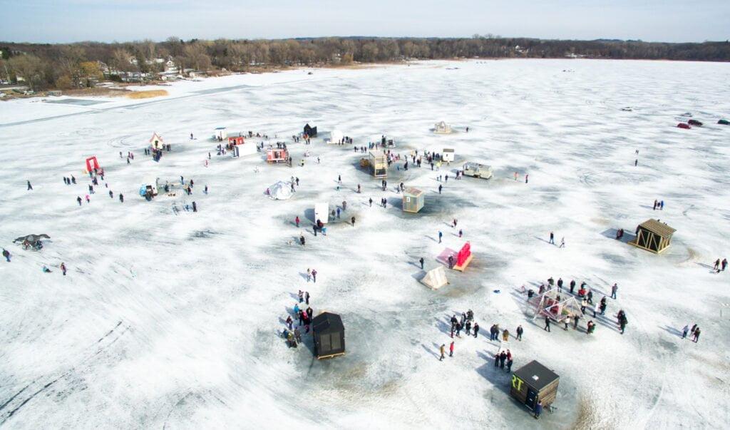 Drone Minnesota Art Shanty Projects   Rockchuck Summit