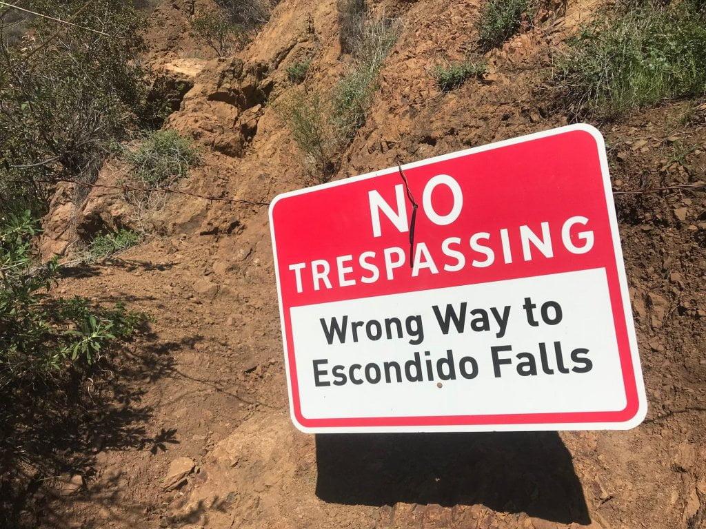 Escondido Falls private propertyu
