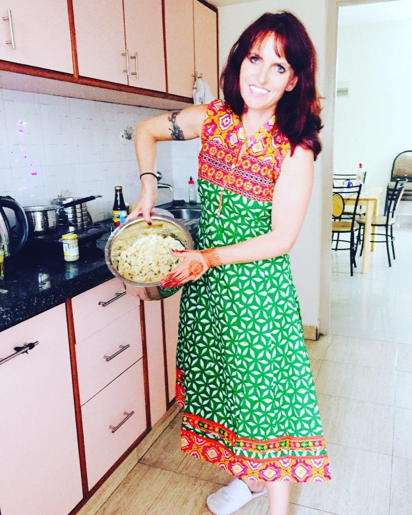 Baking pakoras in our Bangalore kitchen.