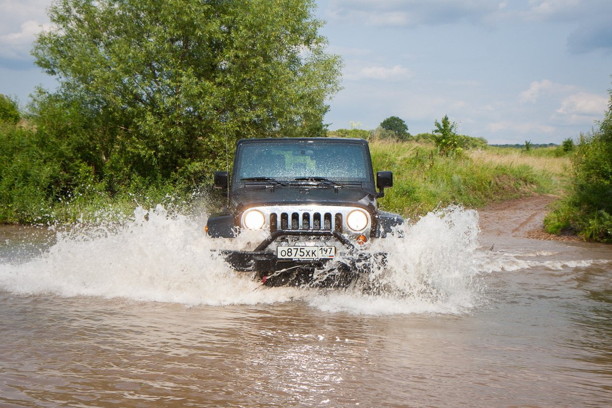 Stock Off Road Jeep Water Crossing