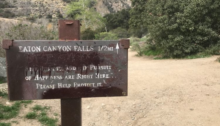 eaton canyon falls sign