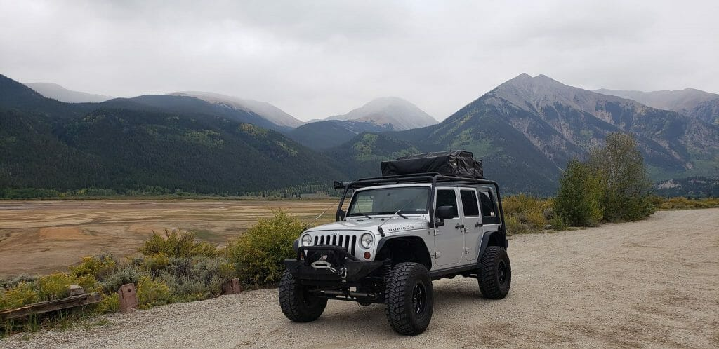 Jeep Wrangler with Rooftop Tent