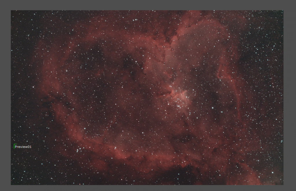 color calibrated heart nebula