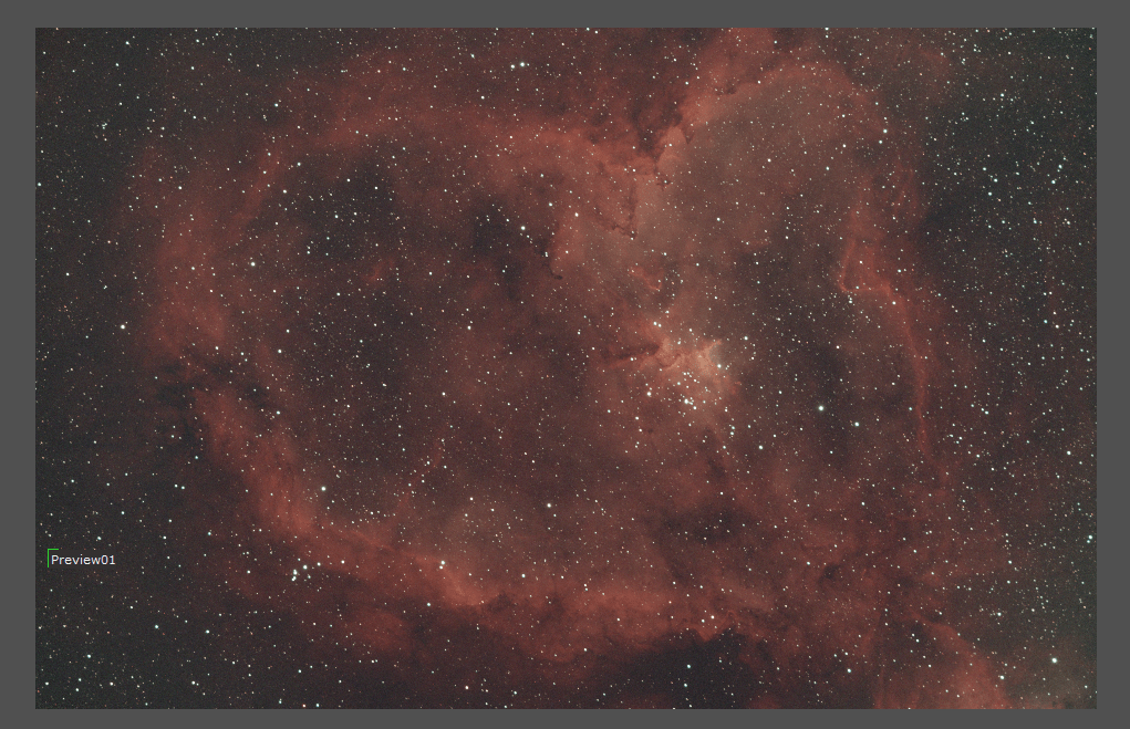 heart nebula background correction in pixinsight