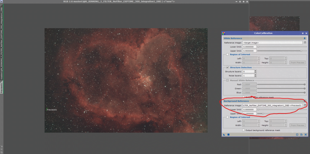 The heart nebula color calibration
