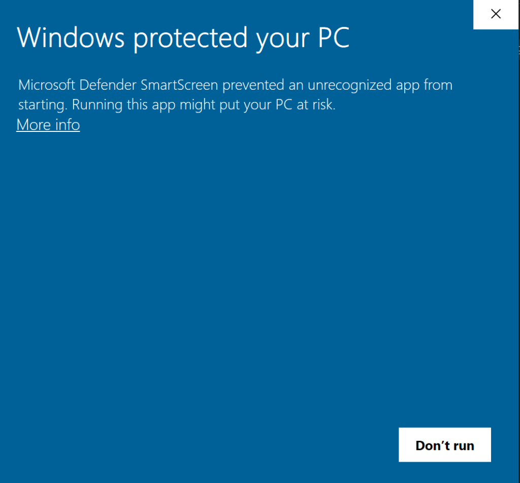 windows protected pc warning