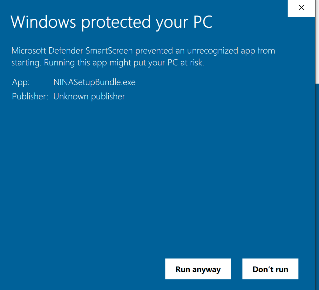 protected pc warning