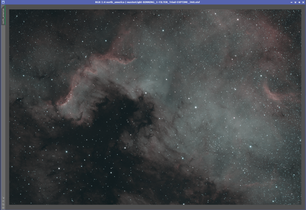 North America Nebula raw image stack