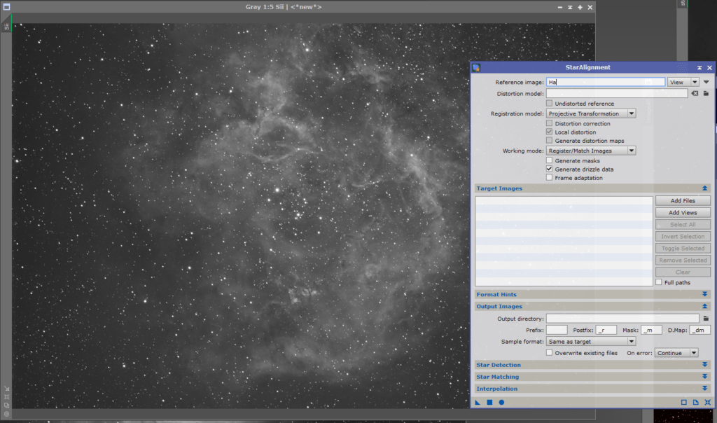 PixInsight Star Alignment for SHO